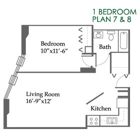 1 Bedroom 1 Bathroom Apartment for rent at Grace Street Towers in Chicago, IL
