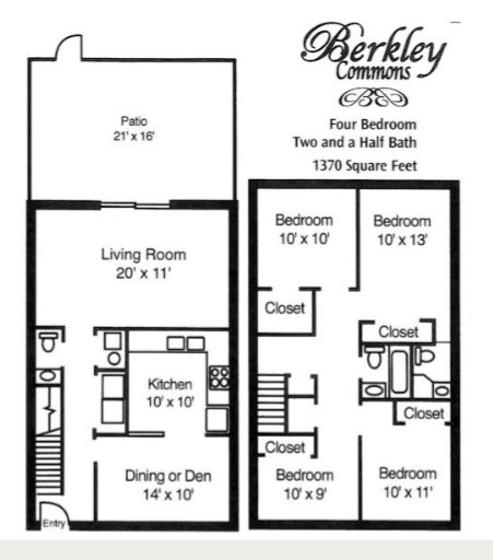 4 Bedrooms 2 Bathrooms Apartment for rent at Berkley Commons Apartments in Indianapois, IN