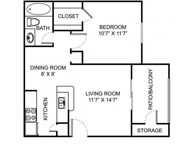 1 Bedroom 1 Bathroom Apartment for rent at Remington Place in Cincinnati, OH
