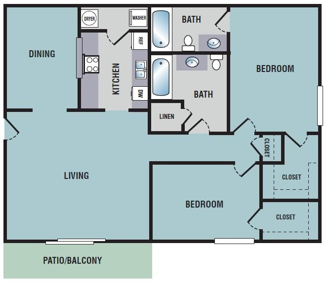 2 Bedrooms 2 Bathrooms Apartment for rent at Northwood Place Apartments in Meridian, MS