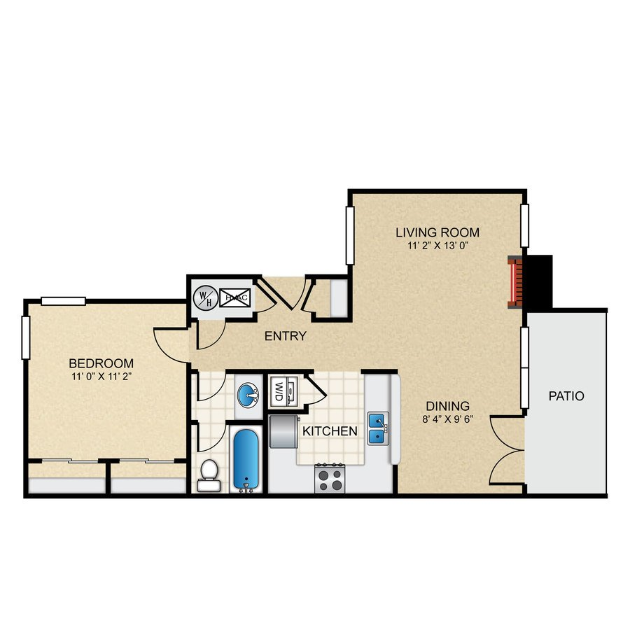 1 Bedroom 1 Bathroom Apartment for rent at The Pointe Apartments in El Paso, TX