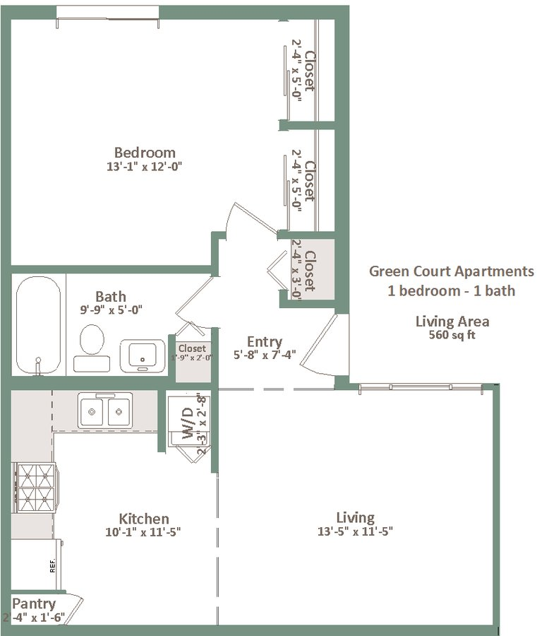 1 Bedroom 1 Bathroom Apartment for rent at Green Court in Milwaukee, WI