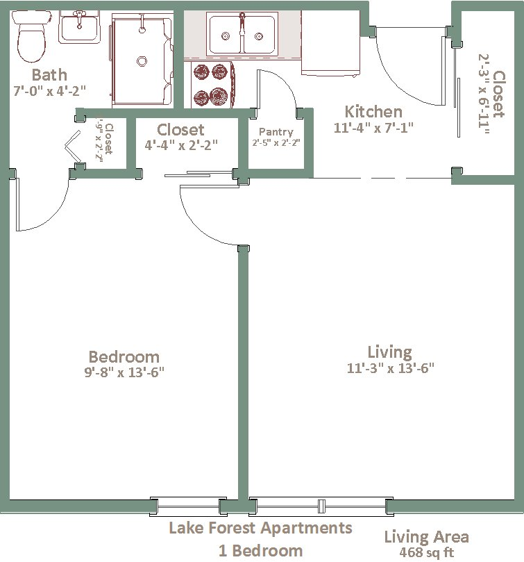 1 Bedroom 1 Bathroom Apartment for rent at Lake Forest in Oak Creek, WI