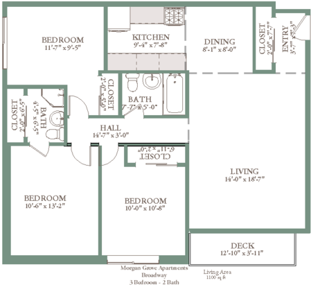 3 Bedrooms 2 Bathrooms Apartment for rent at Morgan Grove in West Allis, WI