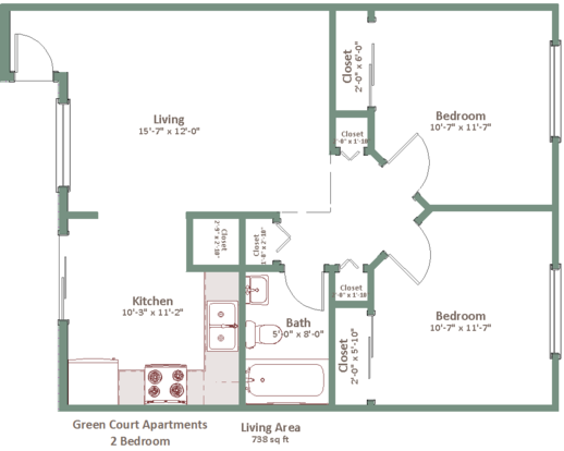 2 Bedrooms 1 Bathroom Apartment for rent at Green Court in Milwaukee, WI
