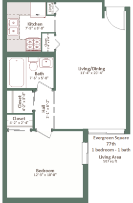 1 Bedroom 1 Bathroom Apartment for rent at Evergreen Square in Milwaukee, WI