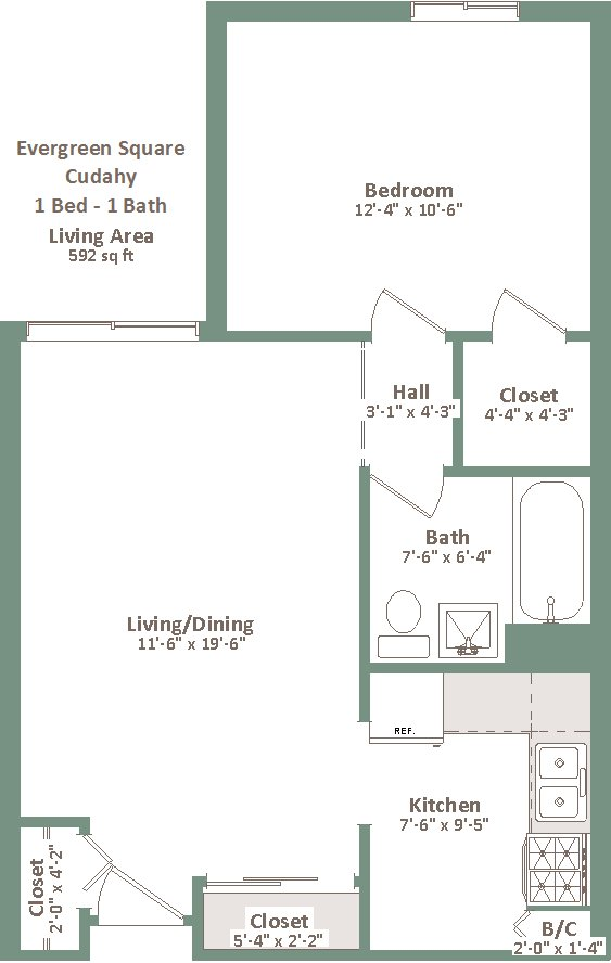 1 Bedroom 1 Bathroom Apartment for rent at Evergreen Square Cudahy in Cudahy, WI