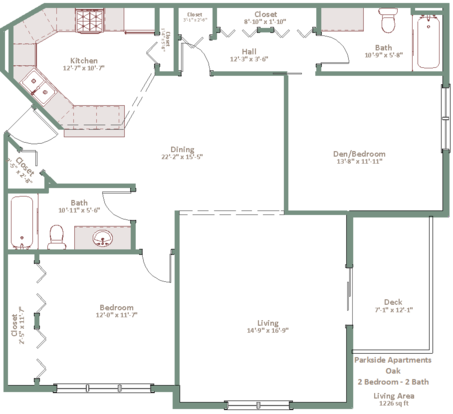2 Bedrooms 2 Bathrooms Apartment for rent at Parkside Apartments in Madison, WI