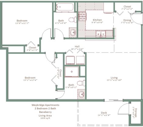 2 Bedrooms 2 Bathrooms Apartment for rent at Weybridge in Sun Prairie, WI