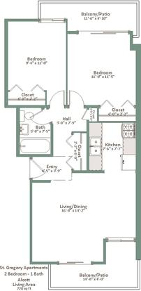 2 Bedrooms 1 Bathroom Apartment for rent at St. Gregory Apartments in Milwaukee, WI