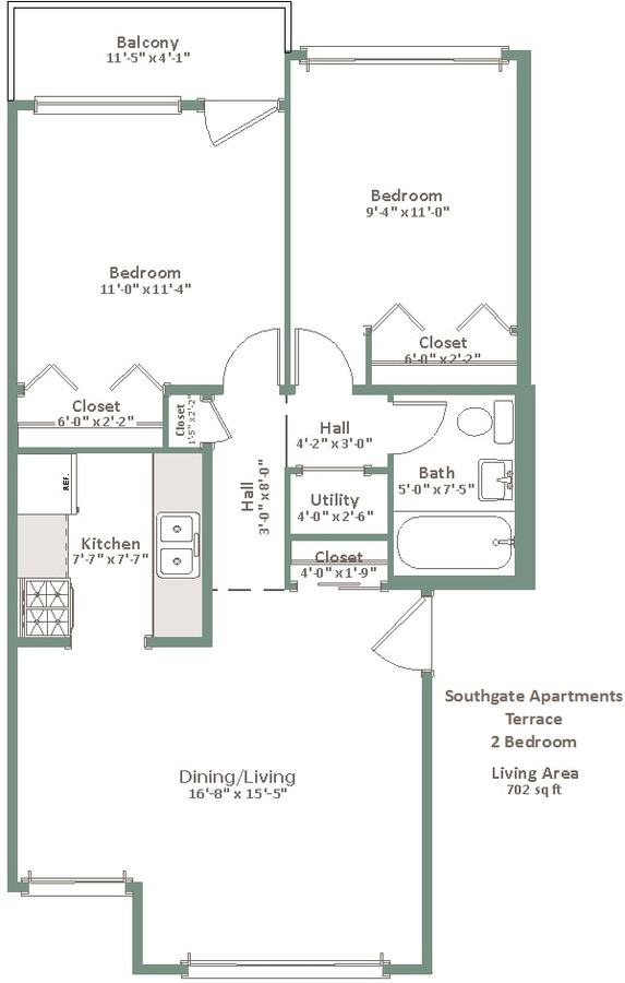 2 Bedrooms 1 Bathroom Apartment for rent at Southgate in Milwaukee, WI
