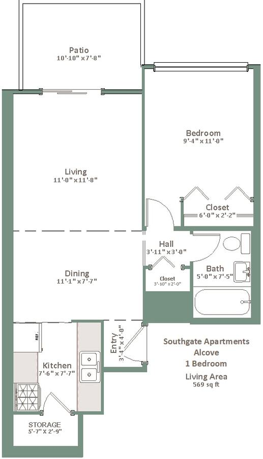 1 Bedroom 1 Bathroom Apartment for rent at Southgate in Milwaukee, WI