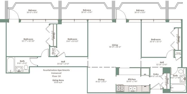 3 Bedrooms 1 Bathroom Apartment for rent at Fountainview in Shorewood, WI