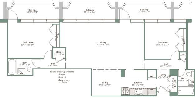 2 Bedrooms 2 Bathrooms Apartment for rent at Fountainview in Shorewood, WI