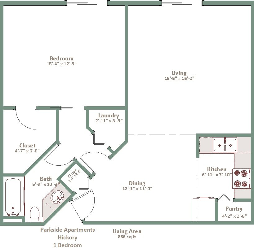1 Bedroom 1 Bathroom Apartment for rent at Parkside Apartments in Madison, WI