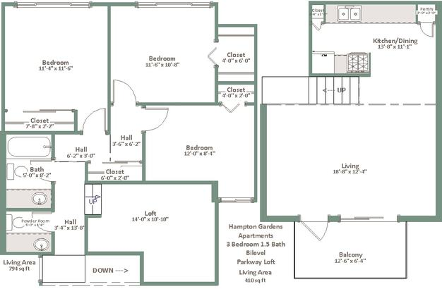 3 Bedrooms 1 Bathroom Apartment for rent at Hampton Gardens in Milwaukee, WI