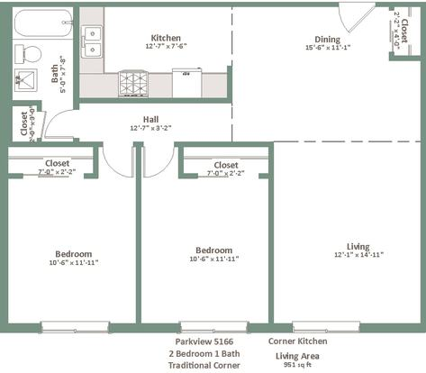 2 Bedrooms 1 Bathroom Apartment for rent at Parkview Apartments in Milwaukee, WI