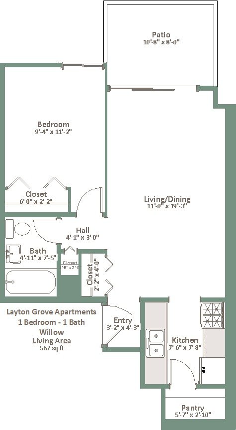 1 Bedroom 1 Bathroom Apartment for rent at Layton Grove in Milwaukee, WI