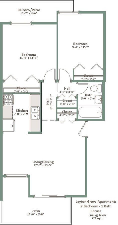 2 Bedrooms 1 Bathroom Apartment for rent at Layton Grove in Milwaukee, WI