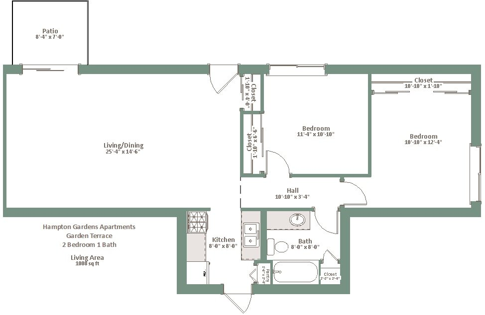 2 Bedrooms 1 Bathroom Apartment for rent at Hampton Gardens in Milwaukee, WI