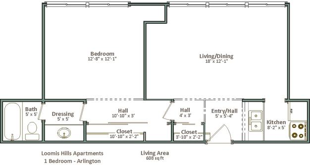 1 Bedroom 1 Bathroom Apartment for rent at Loomis Hills in Greenfield, WI