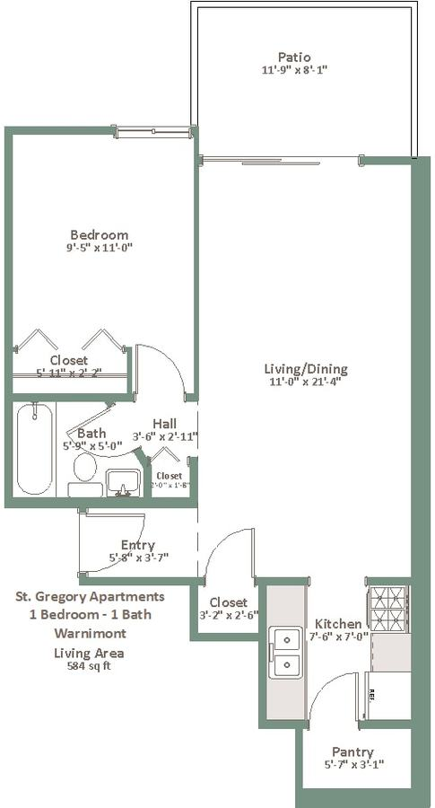 1 Bedroom 1 Bathroom Apartment for rent at St. Gregory Apartments in Milwaukee, WI