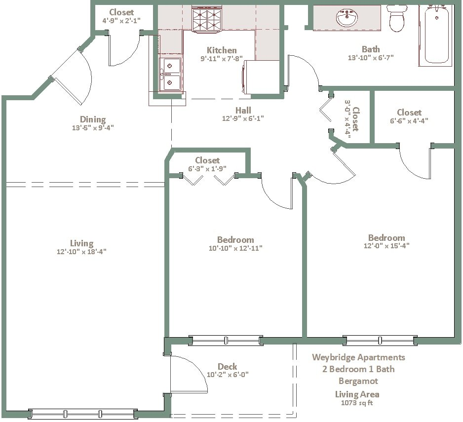 2 Bedrooms 1 Bathroom Apartment for rent at Weybridge in Sun Prairie, WI