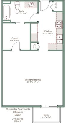 Studio 1 Bathroom Apartment for rent at Weybridge in Sun Prairie, WI