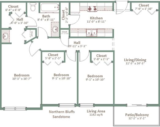 3 Bedrooms 1 Bathroom Apartment for rent at Northern Bluffs in Madison, WI