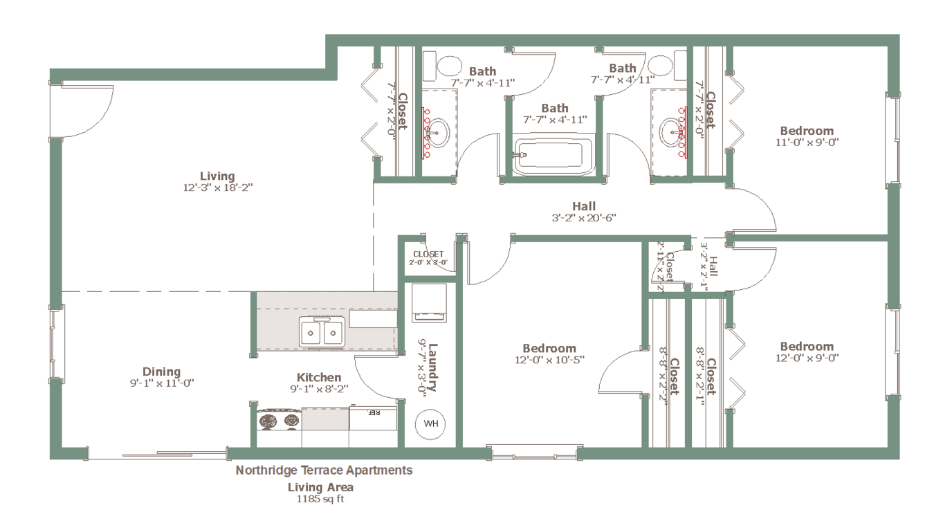 3 Bedrooms 1 Bathroom Apartment for rent at Northridge Terrace in Madison, WI