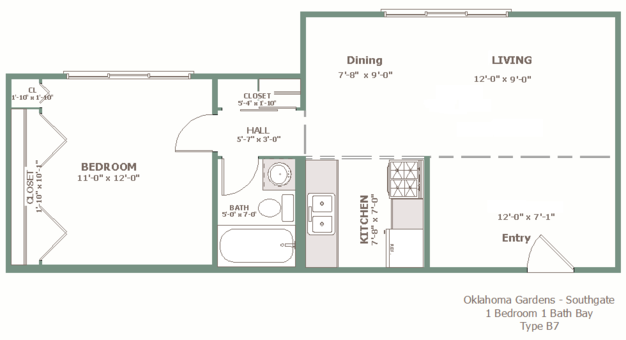 1 Bedroom 1 Bathroom Apartment for rent at Oklahoma Gardens in Milwaukee, WI