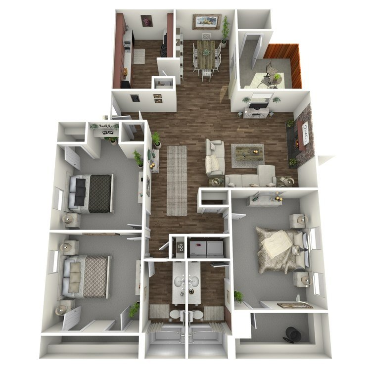 3 Bedrooms 2 Bathrooms Apartment for rent at Westridge in Texarkana, TX