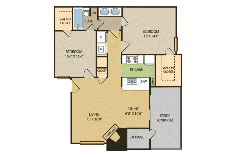 2 Bedrooms 1 Bathroom Apartment for rent at The Glen At Highpoint in Dallas, TX