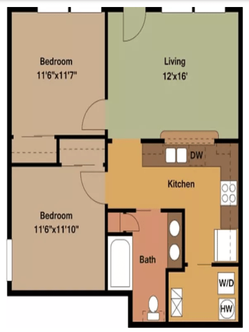 2 Bedrooms 1 Bathroom Apartment for rent at Big Red Apartments in Bloomington, IN