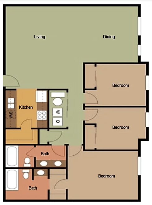 3 Bedrooms 2 Bathrooms Apartment for rent at Big Red Apartments in Bloomington, IN