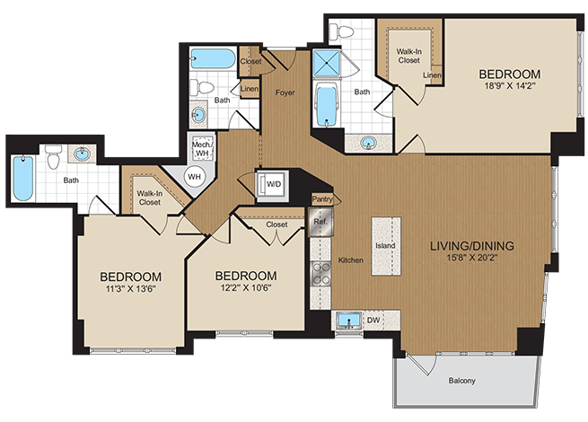 3 Bedrooms 3 Bathrooms Apartment for rent at Harrison At Reston Town Center in Reston, VA