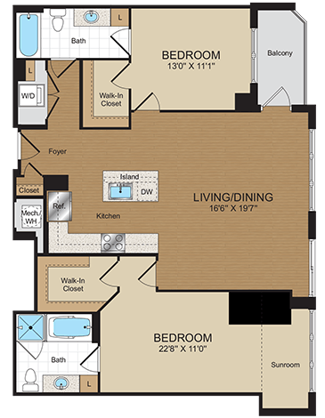 2 Bedrooms 2 Bathrooms Apartment for rent at Harrison At Reston Town Center in Reston, VA