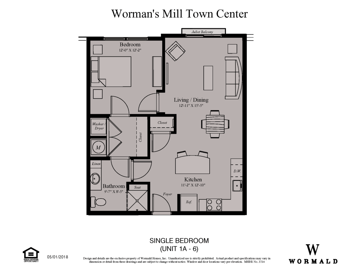 1 Bedroom 1 Bathroom Apartment for rent at Village Center Apartments At Wormans Mill in Frederick, MD