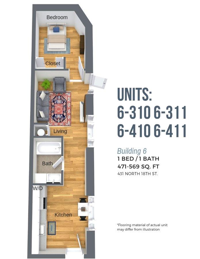 1 Bedroom 1 Bathroom Apartment for rent at Atrium Lofts At Cold Storage in Richmond, VA