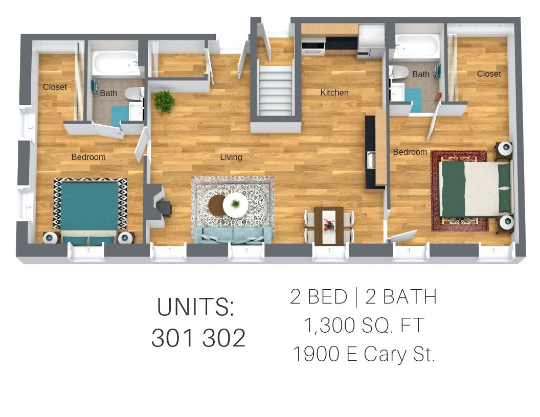 2 Bedrooms 2 Bathrooms Apartment for rent at Lofts And Upper Lofts At Canal Walk in Richmond, VA