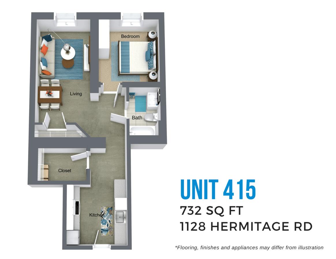 1 Bedroom 1 Bathroom Apartment for rent at Todd Lofts in Richmond, VA