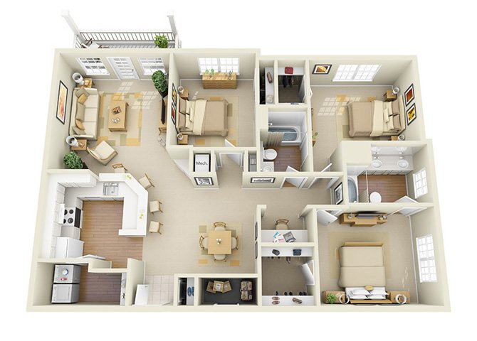 3 Bedrooms 2 Bathrooms Apartment for rent at Glen Park Apartment Homes in Smyrna, GA