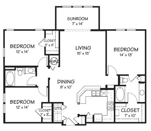 3 Bedrooms 2 Bathrooms Apartment for rent at The Reserve On Cave Creek in Phoenix, AZ
