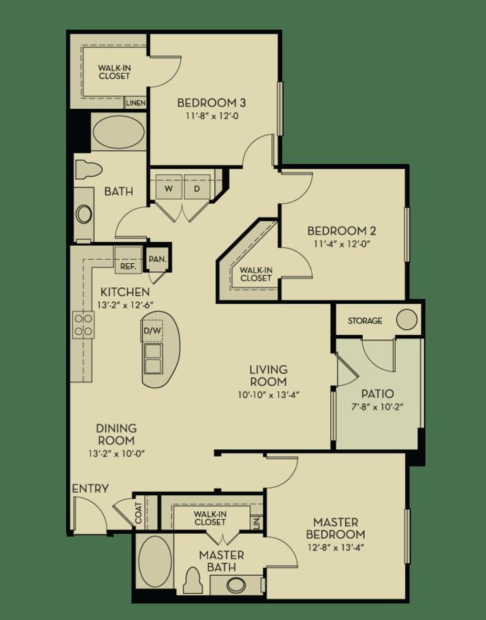 3 Bedrooms 2 Bathrooms Apartment for rent at Aquatera in San Diego, CA