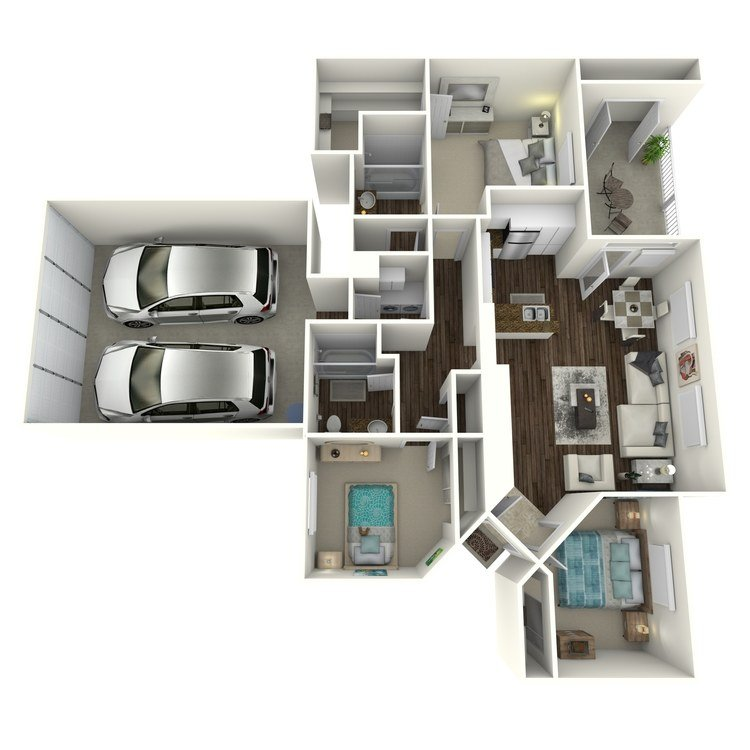 3 Bedrooms 2 Bathrooms Apartment for rent at Creek View in San Diego, CA