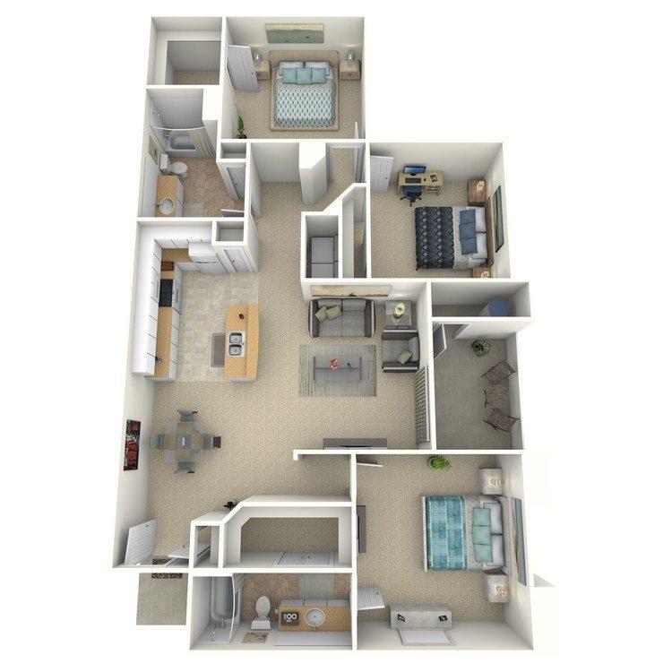 3 Bedrooms 2 Bathrooms Apartment for rent at Portofino in San Diego, CA