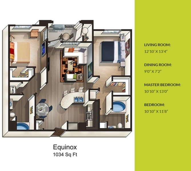 2 Bedrooms 2 Bathrooms Apartment for rent at Solterra in San Diego, CA