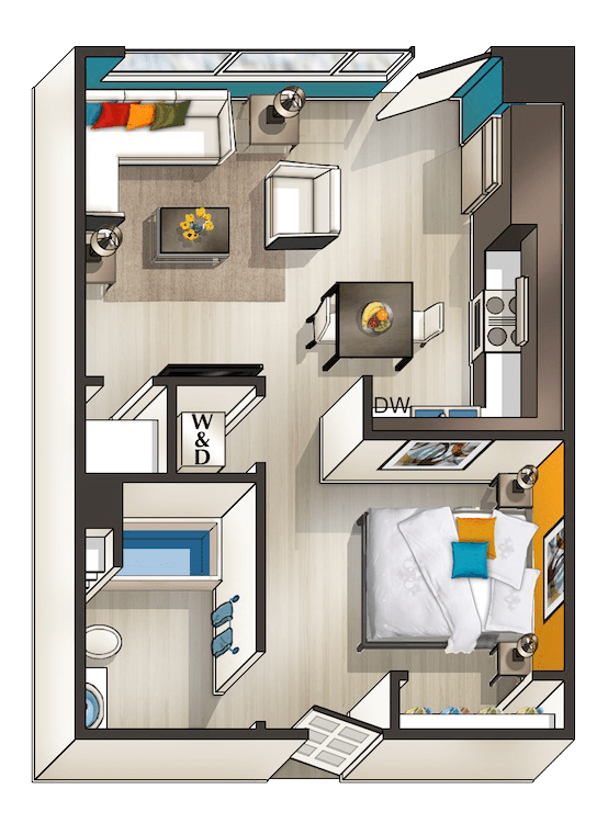 Studio 1 Bathroom Apartment for rent at Urbana in San Diego, CA
