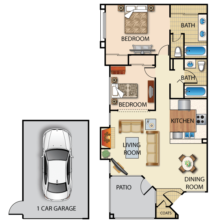 2 Bedrooms 2 Bathrooms Apartment for rent at Creek View in San Diego, CA