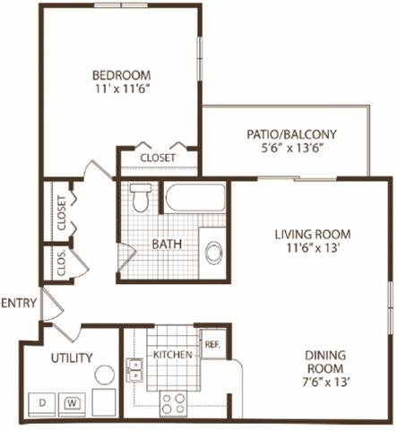 1 Bedroom 1 Bathroom Apartment for rent at Hunter's Ridge in Kalamazoo, MI